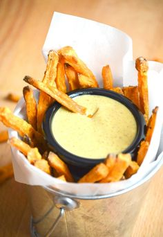 Baked Sweet Potato Fries with Maple Mustard Dipping Sauce from What The Fork Food Blog