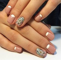 Half moon mani with Minx flower accent nails.
