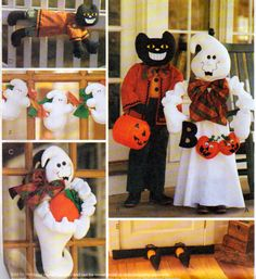 Halloween Front POrch or Yard Decorations, Porch Greeter Ghost and Black cat, Feet Draft Dodger, Wall Hanging , McCalls 2898 by OnceUponAnHeirloom on Etsy