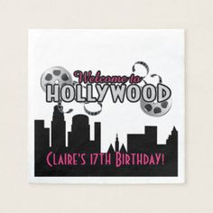 Shop Hollywood Birthday Party, Custom Napkins created by MetroEvents. Cowboy Birthday Party, Fairy Birthday Party, Birthday Ideas, Hollywood Birthday Parties, Hollywood Theme, Custom Napkins, Party Napkins, Floral Baby Shower, Party Favors