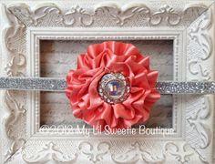 Coral and silver vintage style headband- Newborn Headband-  Baby Girl Headband - Toddler Headband - Adult Headband