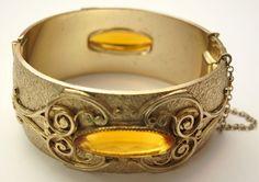 Vintage Gold/Citrine Cuff Bracelet