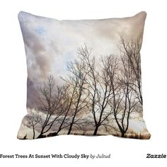 Forest Trees At Sunset With Cloudy Sky Throw Pillow (£29) ❤ liked on Polyvore featuring home, home decor, throw pillows, forest home decor, tree throw pillows, tree home decor and quote throw pillows