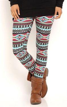 Deb Shops Leggings with Southwest Stripe Print