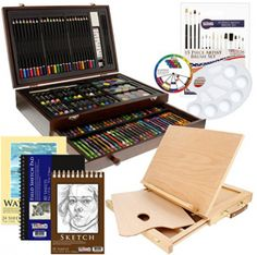 US Art Supply 163 Piece-Premium Mega Wood Box Art, Painting & Drawing Set That Contains All The Additional Supplies You Need to get Started and The Bonus Wooden Drawing Easel with Drawer. Drawing Artist, Painting & Drawing, Watercolor Painting, Arts And Crafts Supplies, Art Supplies, School Supplies, Colour Mixing Wheel, Wax Crayons, Pastel Paper
