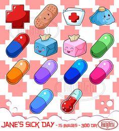 Kawaii Sick Day Clipart  Medical Download  Instant by DigitalArtsi