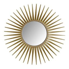 "Use a Mirror in an Unexpected Way ""I just bought a cheap starburst mirror, gilded parts of it to make it look richer, and screwed it to the ceiling. You walk into the room and see this delicate mirror on the ceiling, and it's magic. Small Wall Mirrors, Home Decor Mirrors, Round Wall Mirror, Mirror Set, Wall Decor, Gold Starburst Mirror, Sunburst Mirror, Lori Walls, Mirror Illusion"