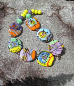 positive vibes handmade lampwork bead set multicolor by lisanew