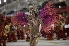 Drum queen Gracyanne Barbosa from the Jacarezinho samba school prepares to dance during the first night of the A Group annual Carnival parade in Rio de Janeiro's Sambadrome February 8, 2013