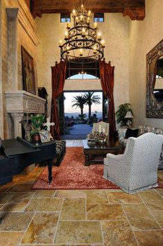 Old World Estate - traditional - living room - san diego - Elevation Architectural Studios Tuscan Design, Tuscan Style, Rustic Design, Home Decor Near Me, World Decor, Tuscan House, Mediterranean Home Decor, Old World Style, Tuscan Decorating