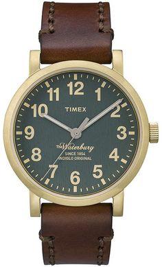 zegarek Timex Waterbury, styl retro, podświetlenie tarczy Indiglo, skórzany pasek