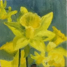 "First in my series of small 5"" x 5"" paintings of flowers around my home.  ""Spring Daffodils"""