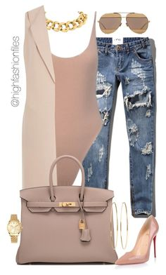 """:"" by highfashionfiles ❤ liked on Polyvore featuring Abercrombie & Fitch, Seaman Schepps, Hermès, Christian Louboutin, Christian Dior, Jennifer Meyer Jewelry and Michael Kors"