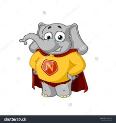 Superhero in a red cloak. Elephant. Character. Big collection of isolated elephants. Vector, cartoon