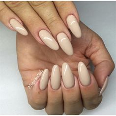 Almond shaped nude nails♡