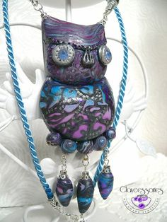 Owl necklace-Owl pendant-Polymer clay by claycessories on Etsy
