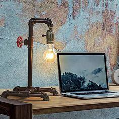 """【Industrial Steam Punk Design】 Combined with minimalism and heavy metal style,the industrial steampunk lamp with retro pipe shape, bronze color metal, and the red valve bring the feeling of 19th-century industrial design, never gets outdated, matches any style of furniture. It can be a perfect decorative light, allows your home décor to look more personalized and unique 【Non-Dimmable &Dual Switch】Lamp dimensions:8.46""""×6.3""""×13.7"""".With a perfect size for any table, the minimalist industrial st"""