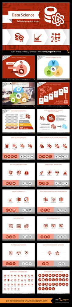 Data Science Big Data Analytics Icons. Data Science graphics library for creating presentation on data, analytics and Big Data topics. Using only PowerPoint or Keynote, you can easily make illustrations about Predictive Analytics, Data Mining, show statistics infographics quickly on a slide.