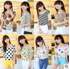 Find More T-Shirts Information about free shipping 2014new fashion women's summer Floral print chiffion blouses tops shirts,High Quality T-Shirts from Sky Fashion apparel on Aliexpress.com