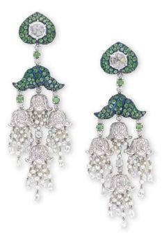 Lot 1881 - A Pair of Diamond, Tsavorite Garnet and Seed Pearl Ear Pendants, by Carnet