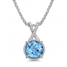 Sterling Silver Blue Topaz Pendant. Please call us for details or to order!