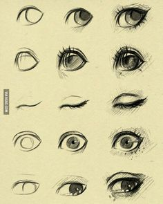 Eye Drawing Tutorial Sketches by ryky. Eye Drawing Tutorials, Drawing Techniques, Drawing Tips, Art Tutorials, Painting & Drawing, Drawing Drawing, Drawing Faces, Drawing Ideas, Deep Drawing