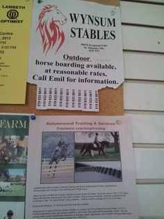 Wynsum Stables located in St. Thomas, Ontario poster seen in Greenhawk Lambeth store Sept 2013