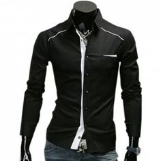 American Casual Style Shirt Collar Elasticated Long Sleeves Cotton Shirt For Men