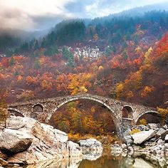 Devil's Bridge In Rhodope Mountains, Bulgaria Arching over the Arda River, the Devil's Bridge belongs to an ancient road that connects the lowlands to the north Aegean Sea. It is believed that this bridge was built around 1515 by the Ottoman empire Belle Photo Nature, Mundo Design, Old Bridges, Bridge Design, Mystique, Autumn Photography, Another World, Fall Photos, Montenegro