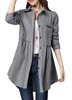 Long Sleeve Plaid Print Pocket Design Curved Turndown Collar Shirt, free shipping worldwide, check it out.