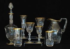 Louis (France) glass - price guide and values Saint Louis Crystal, Crystal Glassware, Faceted Crystal, Decanter, Stems, Drinkware, Arts, St Louis, Old Things