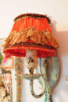 OMG Antique French lampshade with fabulous lace
