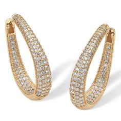 8.10 TCW Cubic Zirconia 14k Yellow Gold-Plated Oval-Shape Inside-Out Huggie Hoop Earrings at Viomart.com
