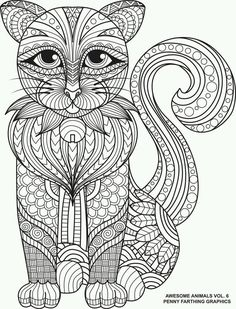 Gorgeous cat colouring page