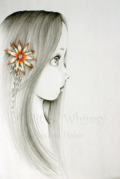 She's Pure an original drawing fantasy fine art by ABitofWhimsyArt, $90.00