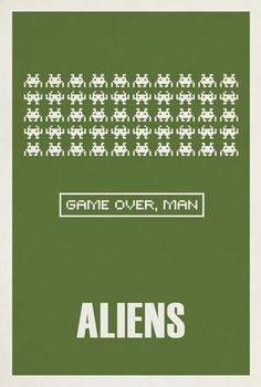Although this poster addresses the 1986 sequel, the original was released in 1979, just one year after the arcade game the pixelated creatures originate from, Space Invaders. This gives a unique cultural link for those growing up in that era.