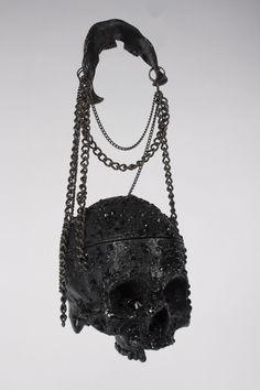 Richard Hible - 'Black Diamonds' Swarovski Crystal Skull Handbag