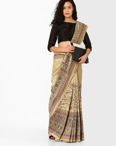 Pihu Multicolored Printed with Contrast Border Saree