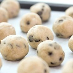 The most delicious egg-free recipe of chocolate covered cookie dough balls.