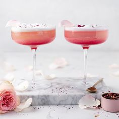 Pretty in pink cocktail perfect for a summer sundowner. Cocktails To Try, Pink Cocktails, Drinks, Milk Tart, How To Clean Metal, Aquafaba, Pie Dish, Good Food, Lime