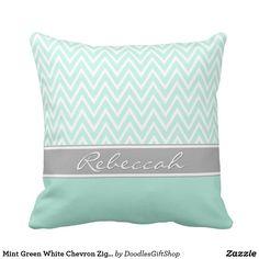 Mint Green White Chevron Zigzag Pattern Gray Name