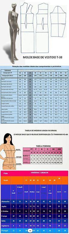 Таблица размеров Шаблоны Мода измерения