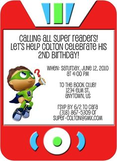 Super Why! Inspired Invitation: $15.00 © 2011 Ruby Dorcas Designs [I do not own Super Why! characters]