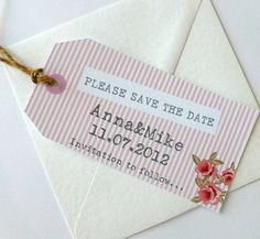 10 Personalised Wedding 'Save The Date' Tags