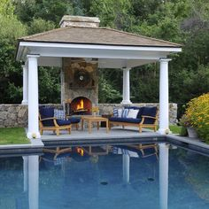 Pool Cabana Integrates With And Fence Landscaping Ideas