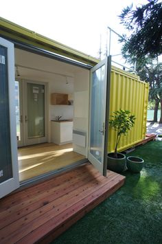 Creative Tiny House – Tiny Container Home. made from a shipping container. Shipping container homes. Also could be a backyard art studio or office or guest house or shed or gazebo. Building A Container Home, Container Buildings, Container Architecture, Container Home Designs, Shipping Container Design, Shipping Containers, Houses Architecture, Sustainable Architecture, Residential Architecture