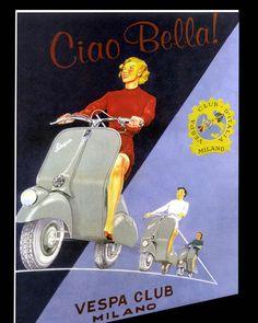 Vintage Vespa Ad Just looks like Fun Piaggio Vespa, Vespa Scooters, Vespa Girl, Scooter Girl, Canvas Poster, Poster On, Car Posters, Travel Posters, Vespa Illustration