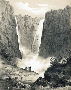 Vøringsfossen waterfall in 1848 - Hardangerfjord Norway