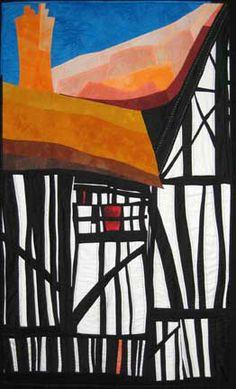 Sliding Edge, art quilt by Elizabeth Barton #quilting #houses #textile_arts