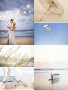 Beach wedding inspiration shoot. Cafe/globe lights, kite. Images by Millie, Rachel and Rebecca of Millie Holloman Photography.